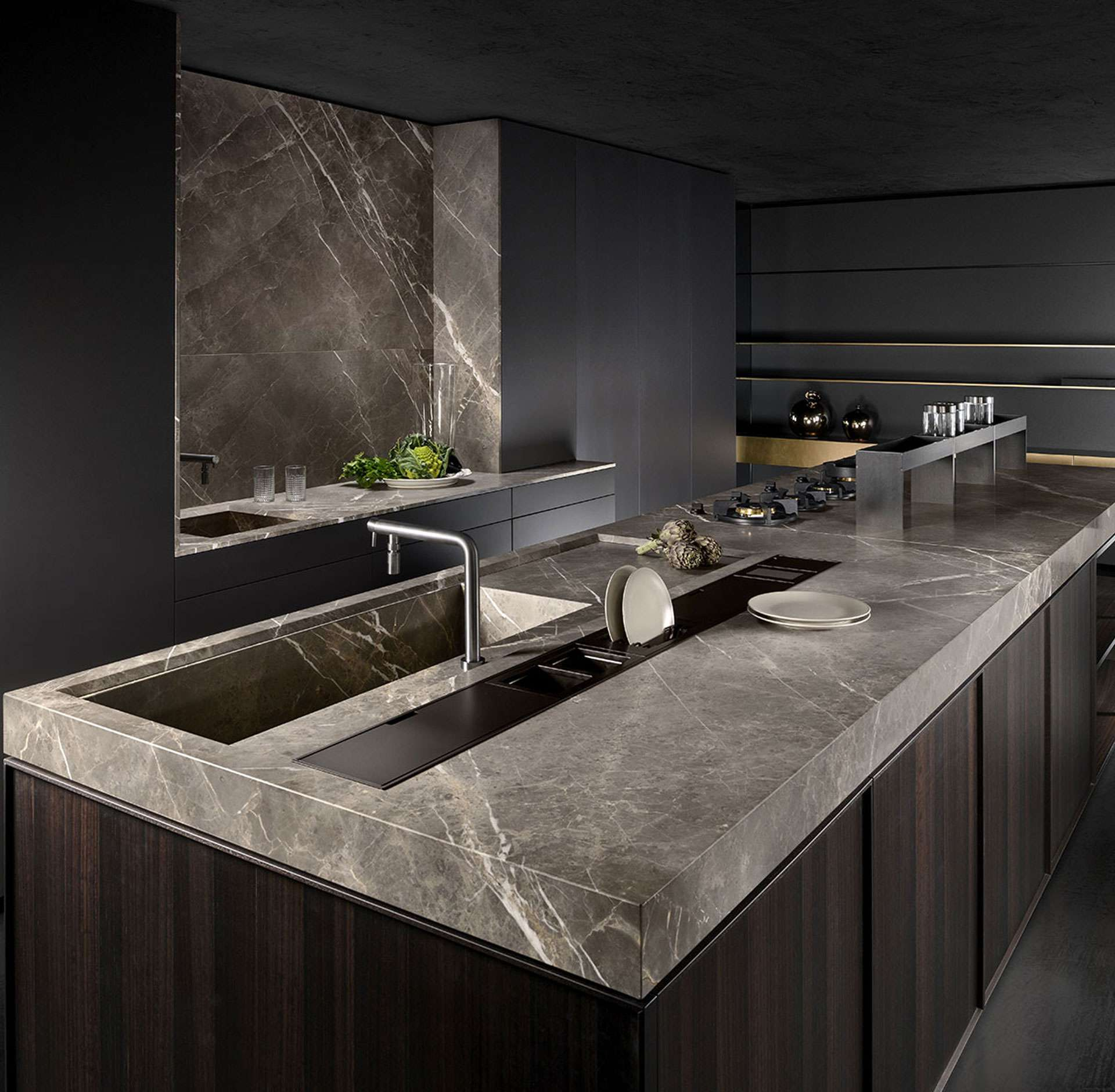 Stylish functionality of Italian kitchen with creative material