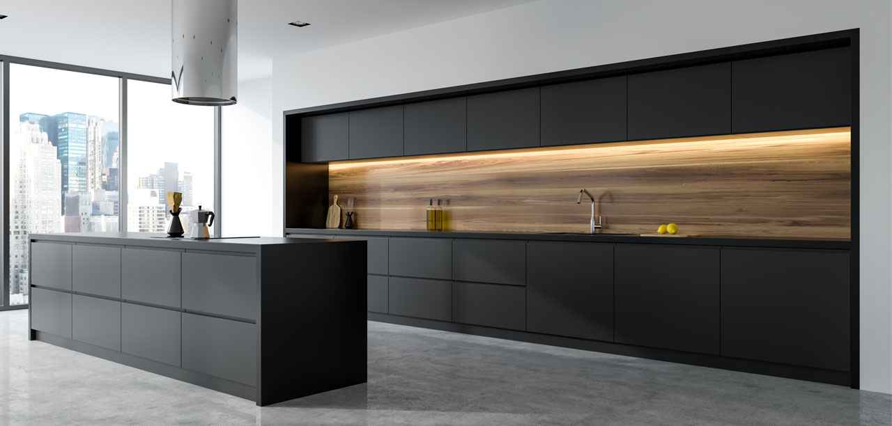 Black & White Aurora kitchen with matt steel finish & quartz raven worktops