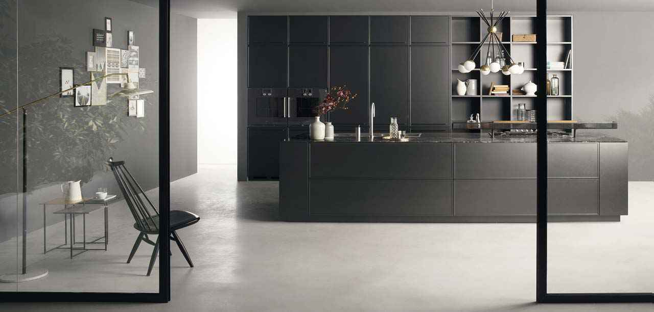 Spacious kitchen design with combination of open drawers and worktop