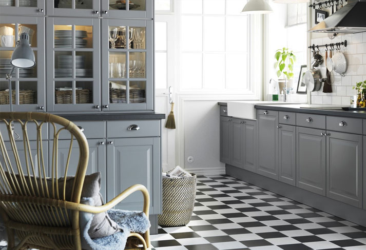 Traditional kitchen design with grey furniture and worktop